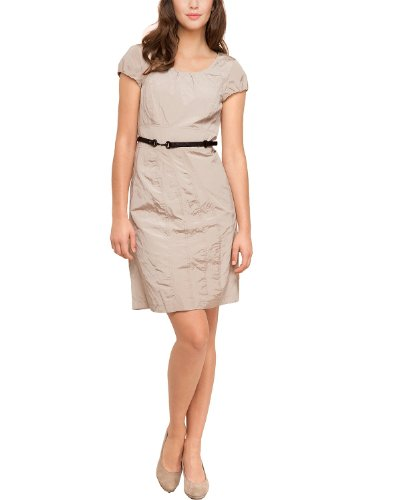 Comma Damen Kleid (knielang) Regular Fit 81.304.82.2222 KLEID KURZ, Gr. 38, Beige (8108 light sand)