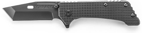Schrade Ch302 Frame-Lock Titanium Coated Honed Tanto Blade Folding Knife With Checkered Handle