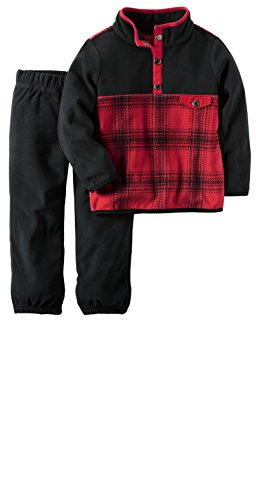 Carter's Toddler Boys 2 Piece French Terry Active Pants & Top Set (3T, Red Pullover)