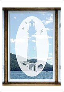 Amazon.com: Lighthouse Oval Etched Window Decal Vinyl