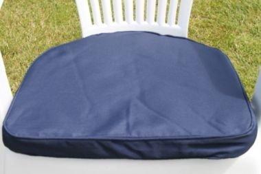 UK-Gardens Navy Blau Garten Möbel stuhl Polsterung Sitz Pad Rander Back - Ideal für Plastik Garten stuhl - Wechselbarer Bezug - Nutzung in Haus oder Garten