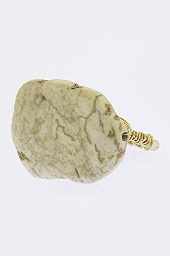 Baubles & Co Wire Wrap Faux Gem Ring (Beige)