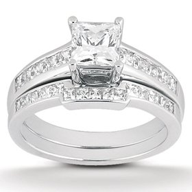 1.10CT Princess Cut Channel Set Diamond Wedding Engagement Ring 14K White Gold
