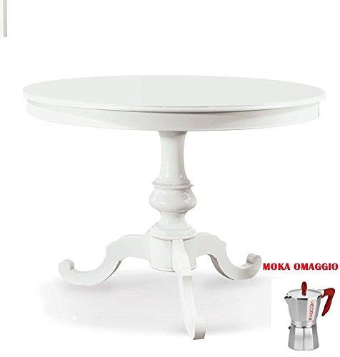 CLASSICO tavolo pranzo Shabby Chic bianco rotondo laccato sala allungabile 1468