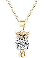 Glitz Trendy Fashion Alloy Gold Plated Crystal Stud Owl Pendant Necklace For Women - Special Jewelry