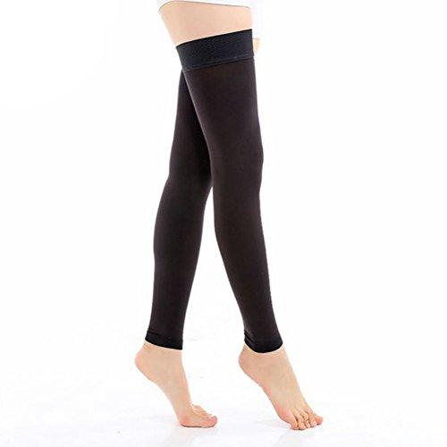 Goege Footless Compression Stockings-Thigh High Microfiber Medical Tight Socks 20-30mmHg (M, Black)