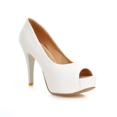 Beanfashion Womens Open Peep Toes High Heel Soft Material Pu Solid Pumps, White, 5 B(M) Us