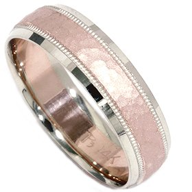 Hammered Wedding Band 14K Rose Gold