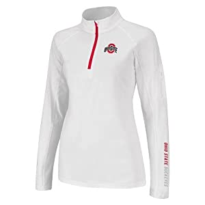 NCAA Ohio State Buckeyes Ladies Studio Quarter Zip Long Sleeve T-Shirt - White by Colosseum
