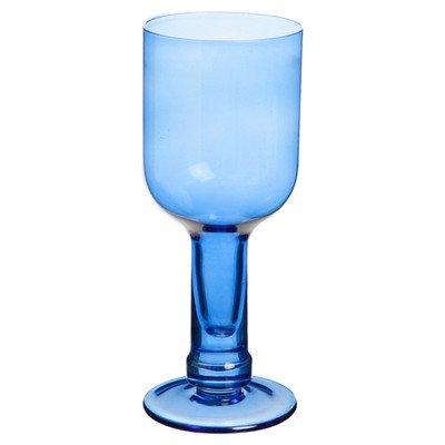Bouteille en verre recyclé Bleu-Lot de 4 Verres à vin