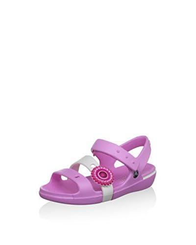 Crocs Sandalo Basso Keeley [Rosa/Bianco]