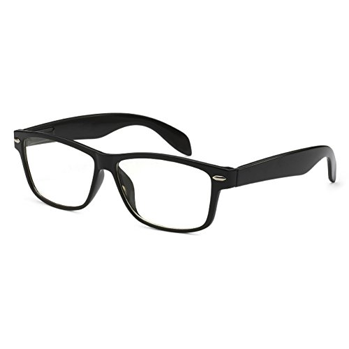 VINTAGE Nerd Geek Wayfarer 2 color Frame Clear Lens Eye Glasses BLACK