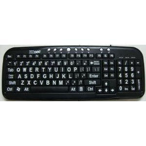 Ez See Large Print Keyboard - Black Keys With White Letters