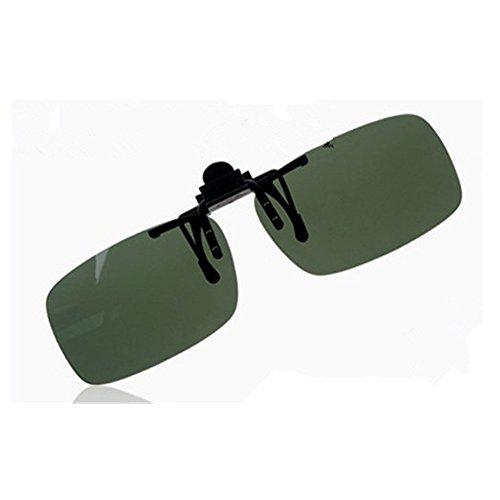 OFT Flip-up Polarisator Blend Gläsern Sonnenbrillen-Clip Brille Sun-Clip Driving für Brillenträger (L, Grün)