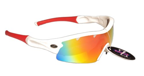 Rayzor Professional Lightweight UV400 White Sports Wrap Cricket Sunglasses, With a 1 Piece Vented Red Iridium Mirrored Anti-Glare Lens. Reviews