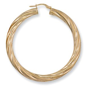 9ct Yellow Gold 48mm Classic Twisted Hoop Earrings