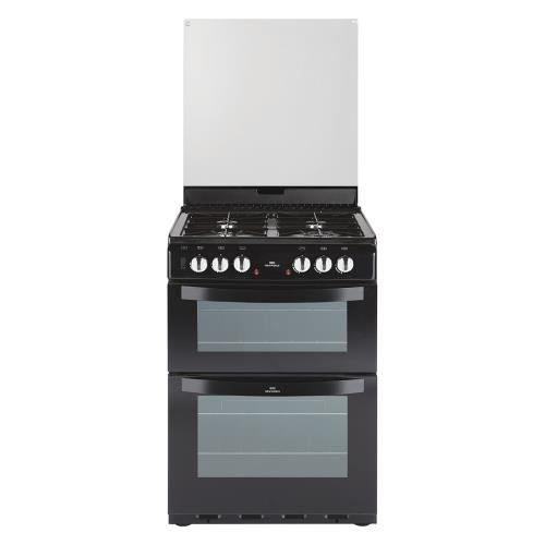 New World NW601DFDOL 60cm Wide Double Oven Dual Fuel Cooker In Black