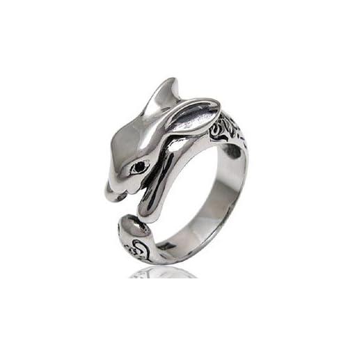 シルバーアクセサリー シルバーリング 指輪 メンズ・レディース リング 兎・うさぎ r0577 フリーサイズ(11号~)
