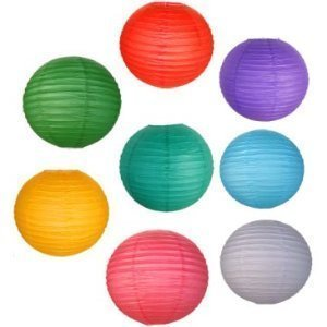 8 Assorted (DIFFERENT) Color Chinese/Japanese Paper Lanterns/lamps 8″ Diameter – Just Artifacts Brand