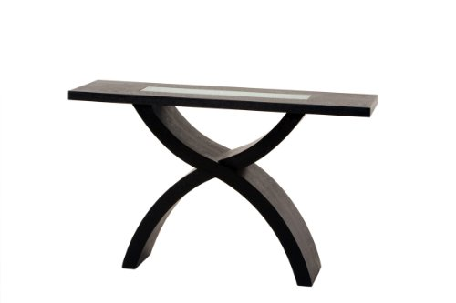 Cheap Diamond Sofa Rectangle Console Table w/ Glass Inset & X-Shaped Base (CS368BF)