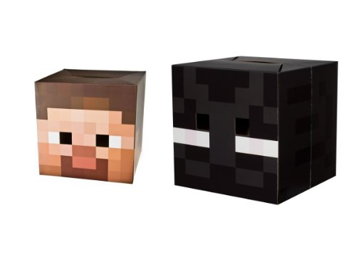 "Official Minecraft 12"" Steve & Enderman Exclusive Head Costume Mask Set of 2"