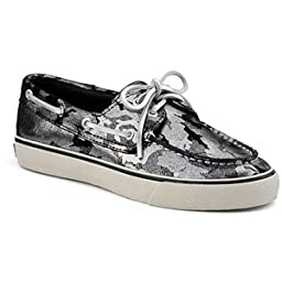 Sperry Women\'s Bahama 2 Eye Metallic Suede Black Metallic Camo Suede 6.5 M US