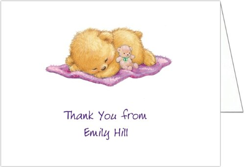 Naptime With Purple Blankey Baby Shower Thank You Cards - Set Of 20 front-1038942