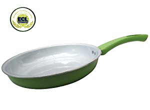 "Royal Organic Green 12"" Ceramic Non-Stick Coating Fry Pan Stay Cool Handle"