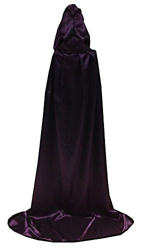 Unisex-adult Halloween Costumes Dress up Wizard Cloak God of Death Cape Purple Small