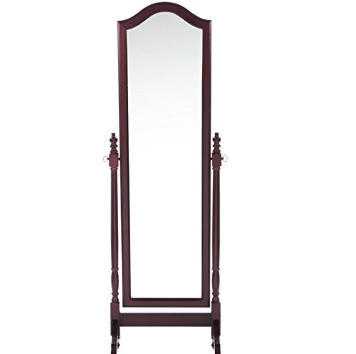 Full Length Cheval Floor Mirror - This Oval Floor Mirror in Cherry Is Contemporary Style Decor for Your Home or Office - The Large Oversized Beveled Mirror Is Standing - It Is Leaning and Adjustable Along a Horizontal Axis. Satisfaction Guaranteed! standing in for lincoln green