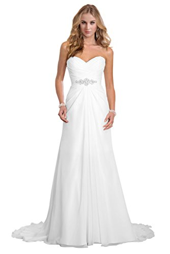Dreambridal Simple A Line Chiffon Bride Wedding Dresses White,US 8