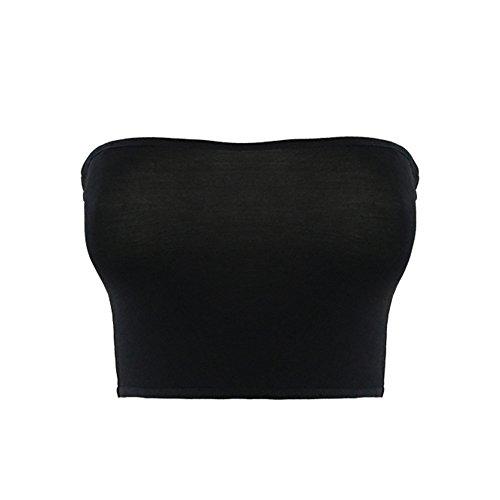 TININNA Donne senza soluzione di continuità a fascia Senza spalline senza imbottitura Reggiseno tubo di Boob Bra Top Nero