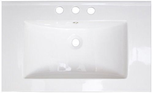 American Imaginations 392 32-Inch by 18-Inch White Ceramic Top with 8-Inch Centers