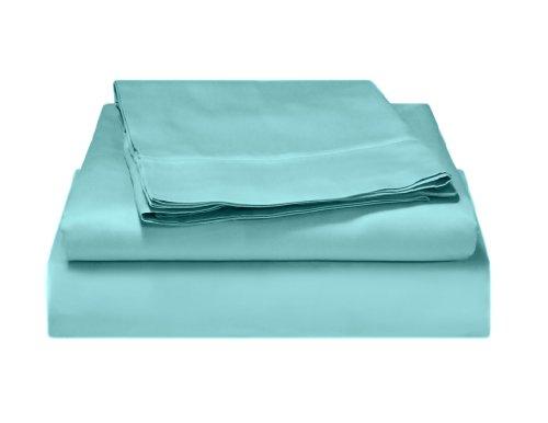 Alok International 300-110038 300 Thread Count Organic Cotton Sheet Set, King, Light Blue front-653732