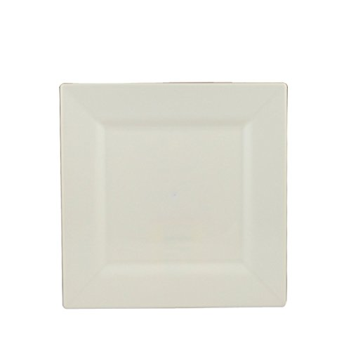 """Maryland Plastics Simply Squared 10 Count Square Appetizer Plates, 4-3/4"""", Beige"""