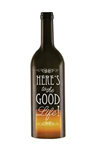 Wine All The Time 22014 Wine Bottle Candle Holder with LED Candle, The Good Life, 11-Inch
