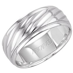 11-Wv7311W Collier Ladies 14 Karat Carved White Gold Wedding Band 8.0Mm From Artcarved