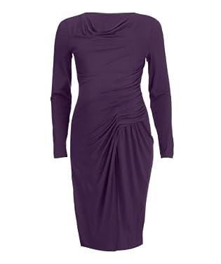 Maternity Purple Ruched Jersey Dress