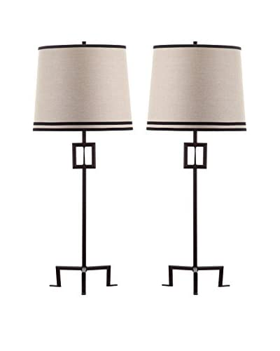 Safavieh Set of 2 Hanover Table Lamps, Bronze/Natural