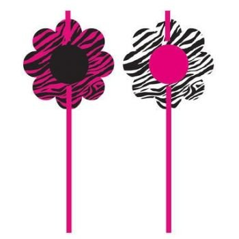 Pink Zebra Party Straw Party Favors (6 ct) - 1