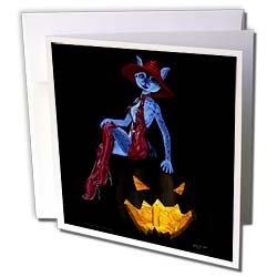 Art of Jolie E Bonnette Creatures Lunas Lantern Fantasy Anthro Halloween Lynx Witch 3D Art Greeting Cards 12 Greeting Cards with envelopes