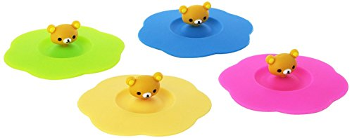 Rimobul 4 Pcs Leakproof Silicone Cup Lid Cover, Random Color (Bear) (Cup Lid compare prices)