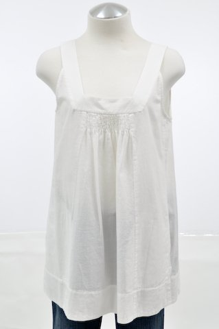 Eileen Fisher White Momen Cotton Sleeveless Tunic Shirt White Medium