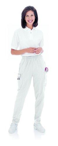 Landau Women's Classic Fit Cargo Elastic Waist Scrub Pants XX-Large White