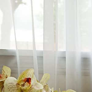 "Beautiful Sheer Voile White 1 Pair 116"" W X 84"" L - SL"