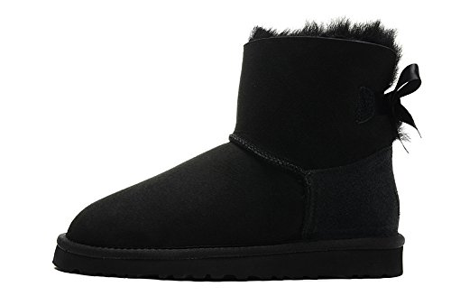 MARION Boots Marion Stiefel Damen Mini Bailey Bow 100506255mm Schaft Höhe Schwarz Lammfell feste Satin Schleife Nylon Bindung EVA Außensohle Schuhe, damen, schwarz, W5=UK3.5=EUR36