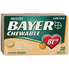 Bayer Low Dose Chewable Baby Aspirin Pain Reliever Orange Flavored 81 mg - 6x