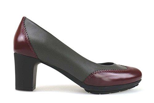 scarpe donna MUSELLA 35 decolte' bordeaux grigio pelle AM844