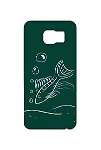 VDESI Designer Matte Finish Plastic Back Cover For Samsung Galaxy S6 Edge (SM-G925I)- Machhli_DrwngBrd (Grn)