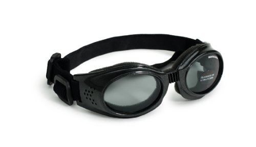 Doggles Originalz Medium Frame Goggles for Dogs with Smoke Lens, Black